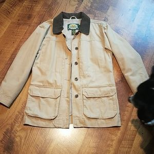 *Barn Coat, Cream with a Green Collar, Size Small